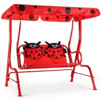 Reward-2 Person Kids Patio Swing Porch Bench with Canopy