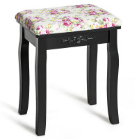 Vanity Wood Dressing Stool Padded Piano Seat with Rose Cushion