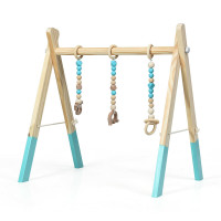 Portable 3 Wooden Newborn Baby Exercise Activity Gym Teething Toys Hanging Bar