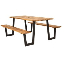70 Inch Dining Table Set with Seats and Umbrella Hole