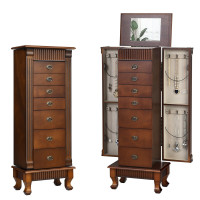 Free Standing Wooden Jewelry Armoire Cabinet Storage Chest with 7 Drawers and 2 Swing Doors