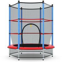 """55"""" Youth Jumping Round Trampoline with Safety Pad Enclosure"""