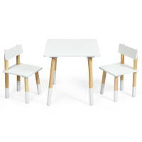 Kids Wooden Table and 2 Chairs Set
