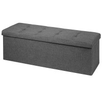 Large Fabric Folding Storage Chest with Smart lift Divider Bed End Ottoman Bench