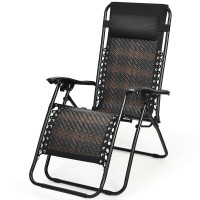 Folding Rattan Zero Gravity Lounge Chair with Removable Head Pillow