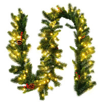 9 Feet Pre-lit Artificial Christmas Garland Red Berries with LED