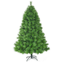7 Feet Hinged Artificial Christmas Tree Holiday Decoration with Stand