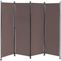 4-Panel Room Divider Folding Privacy Screen with Adjustable Foot Pads