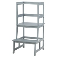 Kids Wooden Kitchen Step Stool with Safety Rail