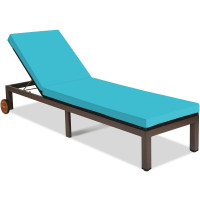 Patio Chaise Lounge Chair Outdoor Rattan Lounger Recliner Chair