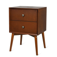 Nightstand Mid-Century End Side Table with 2 Drawers and Rubber Wood Legs