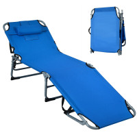 Folding Chaise Lounge Chair Bed Adjustable Outdoor Patio Beach