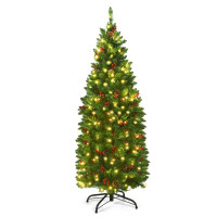4.5 Feet Pre-lit Hinged Pencil Christmas Tree with Pine Cones Red Berries and 150 Lights