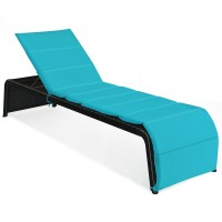 Patio Rattan Lounge Chair Back Adjustable Chaise Recliner with Cushioned