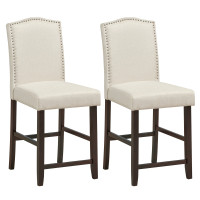 2 Pcs Fabric Nail Head Counter Height Dining Side Chairs Set