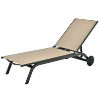 6-Position Adjustable Fabric Outdoor Patio Recliner Chair