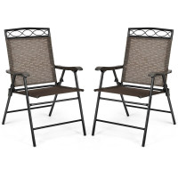 Set of 2 Patio Folding Chairs Sling Portable Dining Chair Set with Armrest