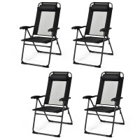 4 Pcs Patio Garden Adjustable Reclining Folding Chairs with Headrest