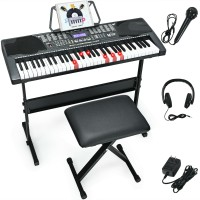 61-Key Electronic Keyboard Piano with Lighted Keys and Bench