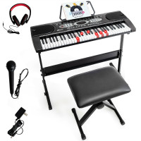 61 Key Electronic Piano with Lighted Keys Stand Bench Headphone