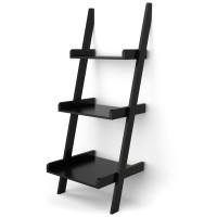 3 Tier Leaning Rack Wall Book Shelf Ladder