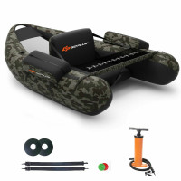 Inflatable Fishing Float Tube with Pump Storage Pockets and Fish Ruler