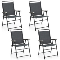 4 Pieces Portable Outdoor Folding Chair with Armrest