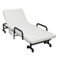 Folding Adjustable Guest Single Bed Lounge Portable with Wheels