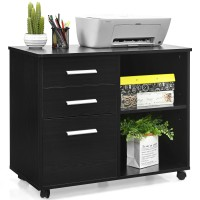 3-Drawer Mobile Lateral File Cabinet Printer Stand