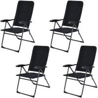 Set of 4 Patio Folding Chairs with Adjustable Backrest