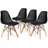 4 Pieces Modern Plastic Hollow Chair Set with Wood Leg