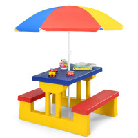 Kids Picnic Folding Table and Bench Set with Umbrella
