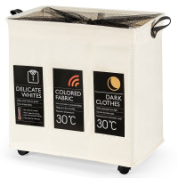 120L 3-Section Laundry Hamper Sorter with Wheels and Mesh Cover
