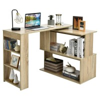 Study L-Shaped Rotating Corner Computer/Laptop Table with Bookshelves