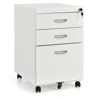 3-Drawer Mobile File Cabinet Steel with Lock Handle