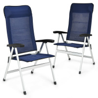 2 Pieces Patio Dining Chair with Adjust Portable Headrest