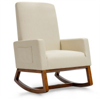 Rocking High Back Upholstered Lounge Armchair with Side Pocket
