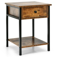 Industrial End Side Table Nightstand with Drawer Shelf