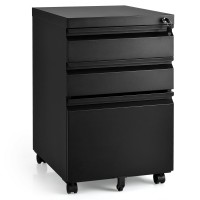 3-Drawer Mobile Convenient Filing Cabinet Stee with Lock