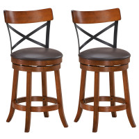 Set of 2 Bar Stools 360-Degree Swivel Dining Bar Chairs with Rubber Wood Legs
