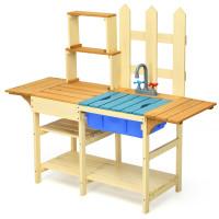 Kid's Outdoor Wooden Pretend Cook Kitchen Playset Toy