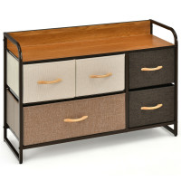 5-Drawer Dresser Storage Tower with Fold-able Fabric Drawers