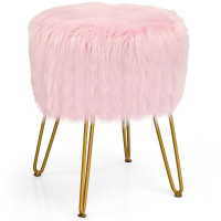 Stylish Round Furry Ottoman Faux Fur Vanity Stool Chair Makeup Stool Furry Padded Seat
