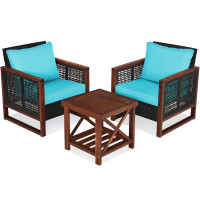 3 Pcs Patio Wicker Furniture Sofa Set with Wooden Frame and Cushion
