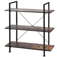 3-Tier Bookshelf Industrial Bookcase Display Shelf Storage Rack