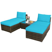 5 Pieces Patio Rattan Furniture Set with Cushioned Armless Sofa