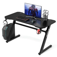 Gaming Desk Z-Shaped Computer Office Table with Gaming Handle Rack