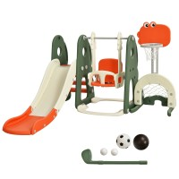 6 in 1 Toddler Slide and Swing Set with Ball Games