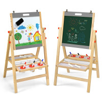 Kids Art Easel with Paper Roll Double Sided Chalkboard and Whiteboard