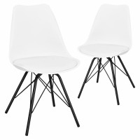 Set of 2 Mid Century Modern Side Chairs with PU Seat